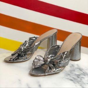 NEW Loeffler Randall silver heeled mules